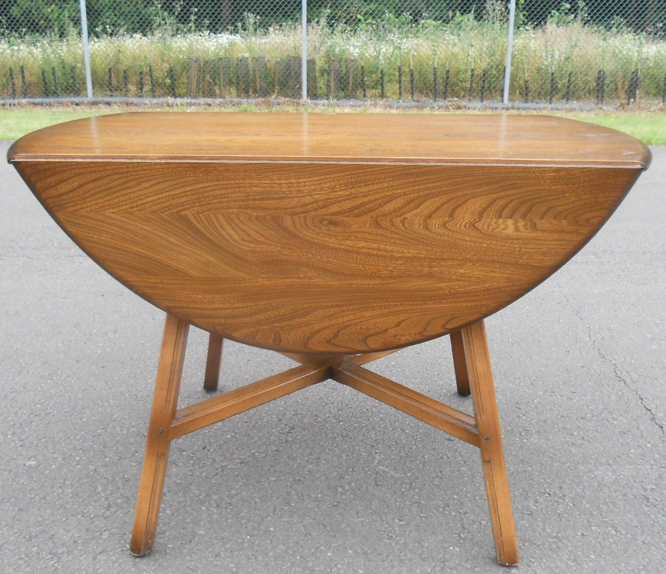 SOLD   Oval Dropleaf Elm Dining Table by Ercol. Oval Dropleaf Elm Dining Table by Ercol